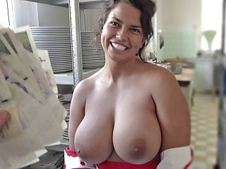 Cook with HUGE Tits blowjob brunette hardcore video