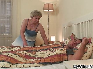 Old mother in law wakes him up for taboo sex blowjob hardcore mature video
