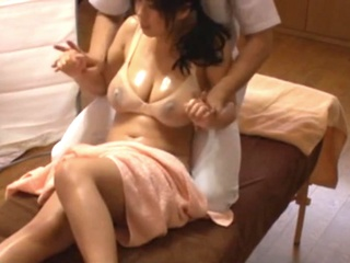 Japanese Cheating wife get massage fuck infornt of his Husband. asian japanese massage video