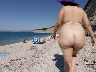 Katrin Porto - Nude Beach Walk solo female amateur red head video