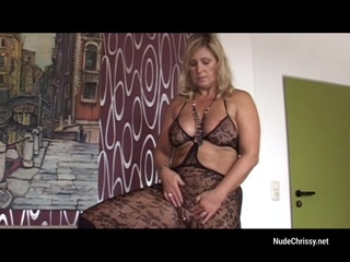 NudeChrissy - With dildo and caysuite mature solo female masturbation video
