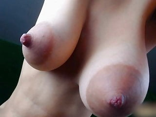 Girl play with her big juicy boobs webcam close-up nipples video