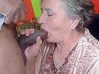 Old granny needs a young cock blowjob cumshot facial video