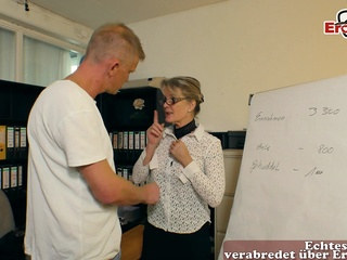german mature milf seduced younger guy in office amateur german housewife video