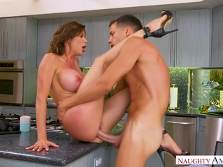 Curvy big tited milf in high heels is getting fucked hard, while on the kitchen table big tits brunette hd video